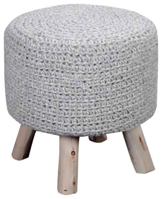Pooneli Hand Knit Wool Fabric Artisan Poof Stool