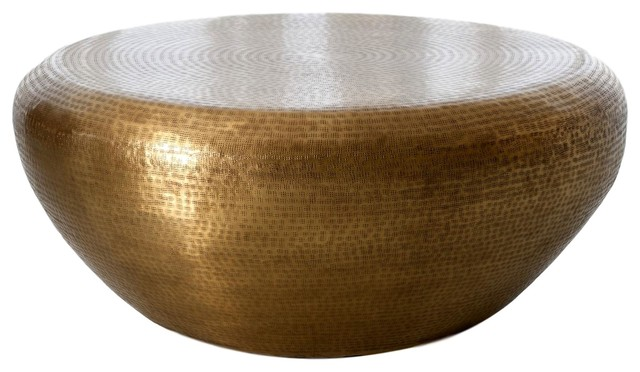 Hammered Brass Drum Round Coffee Table Large Minimalist Modern Gold 35 Contemporary Coffee Tables By My Swanky Home