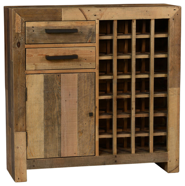 Pelham Wine Rack Bar Cabinet Natural