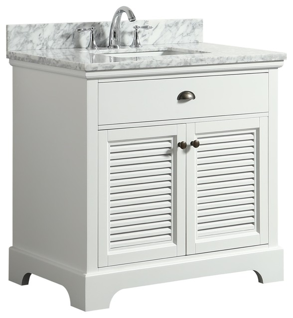 Fulton White Bathroom Vanity With Marble Top, 36.