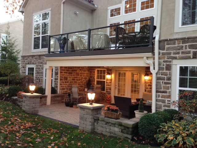 Columbus Second Story Deck Over Patio Creates Dry Space Traditional