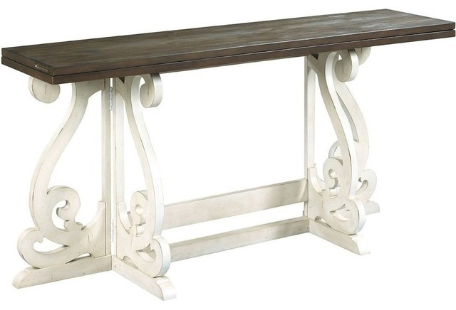 Hammary Hidden Treasures Flip Top Gateleg Table, Rustic Gray And Antique  White Console