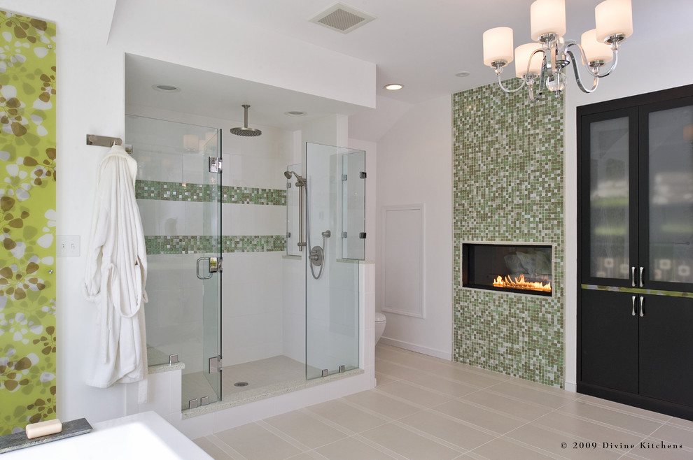 Example of a large trendy master white tile and porcelain tile porcelain floor bathroom design in Boston with an undermount sink, flat-panel cabinets, engineered quartz countertops, a two-piece toilet, white walls and black cabinets