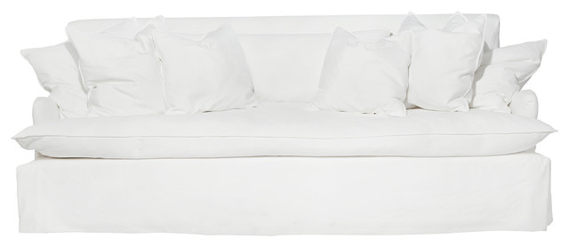 "Camden Feather Down Coastal Beach Style Slip Cover Sofa - 96"" beach-style-sofas"