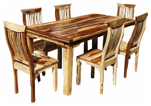 Rustic Solid Wood 7 Piece Dining Set Table And 6 Chairs