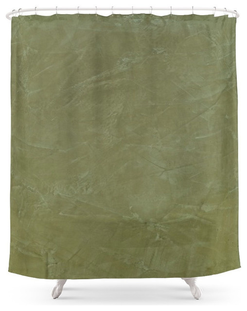 Society6 Society6 Tuscan Olive Green Plaster Shower Curtain Shower Curtains Houzz