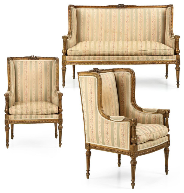 Consigned French Louis XVI Style Antique Suite Of Settee And Chairs 3 Piece