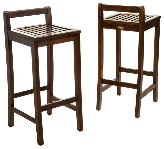 Simple Lines Wooden Bar Stools Set of 2 transitional-outdoor-bar-stools  sc 1 st  Houzz & Simple Lines Wooden Bar Stools Set of 2 - Transitional - Outdoor ... islam-shia.org