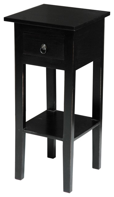 Sunset Trading Cottage Narrow Side Table, Black transitional-side-tables -and-