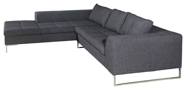 sulla sectional sofa left charcoal fabric