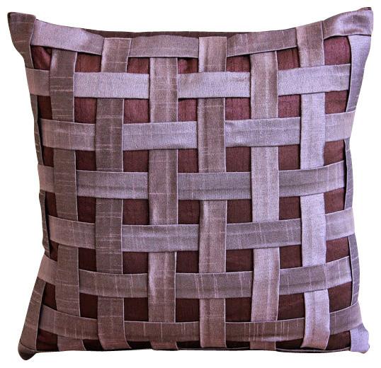 "Purple N Plum Basket Weave, 26""x26"" Art Silk Purple Euro Shams."