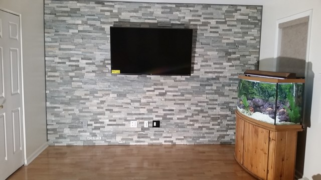 Natural Stone Accent Wall With Tv Mount Wires In Philadelphia