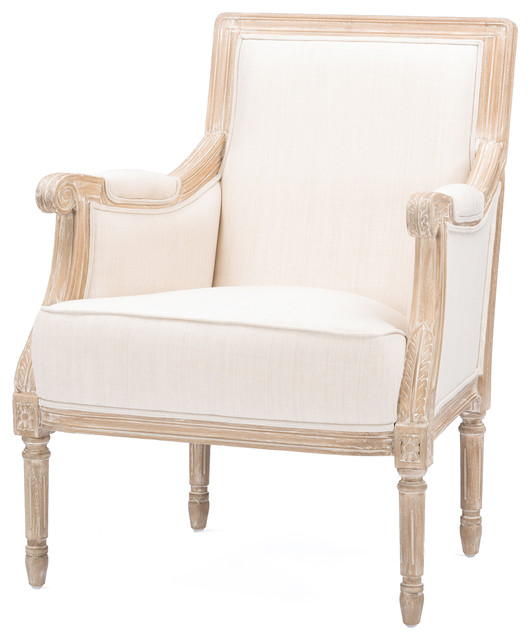 chavanon wood and light beige linen traditional accent