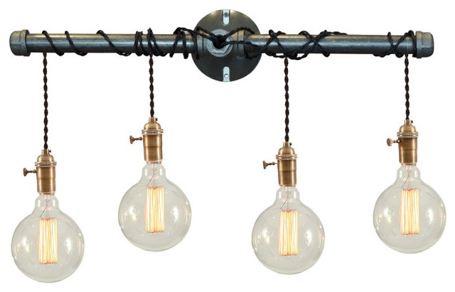 industrial bathroom vanity lights with a glass shade | houzz