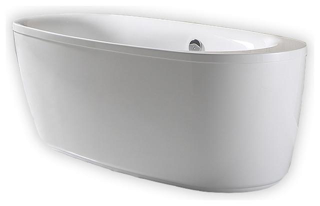 "Ove Decors Leni 66"" Acrylic Flatbottom Freestanding Bathtub In White."