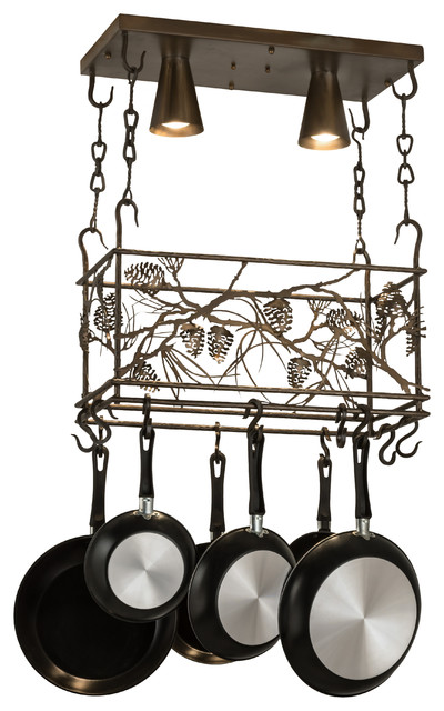 Meyda Lighting 24 L Whispering Pines Pot Rack Antique Copper Rustic Racks And Accessories By Freely