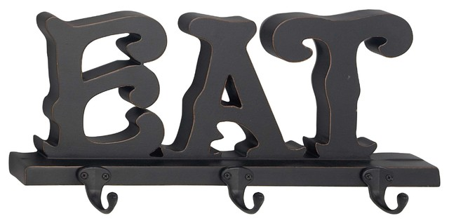 Modern Wood And Metal Eat Wall Hook Rack With 3 Hooks.