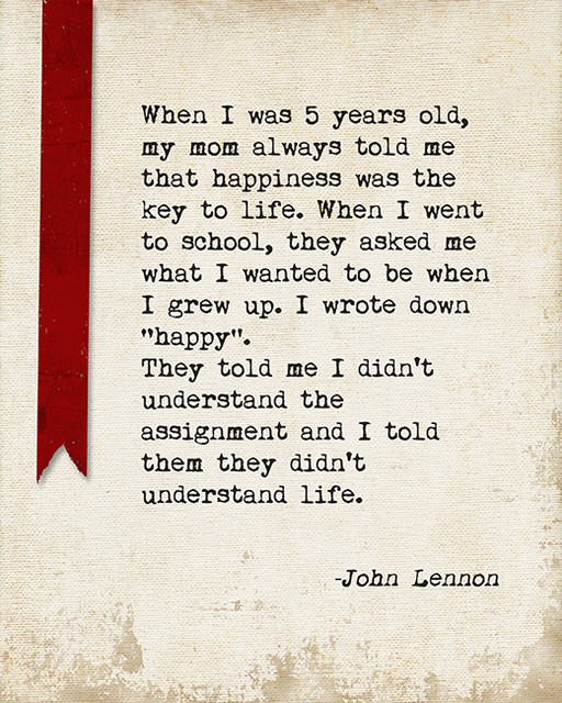 When I Was 5 Years Old John Lennon Quote Motivational Art Print