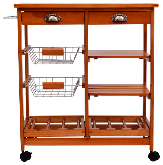 Homcom 29 Quot Portable Rolling Trolley Kitchen Cart With Tile