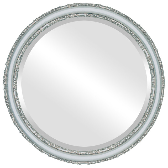 Virginia framed round mirror in silver leaf with brown for Round silver wall mirror
