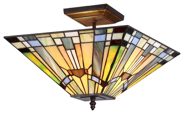 Decorative Star Ceiling Light Semi Flush Bathroom Fixture: Kinsey 2-Light Mission Semi-Flush Ceiling Fixture