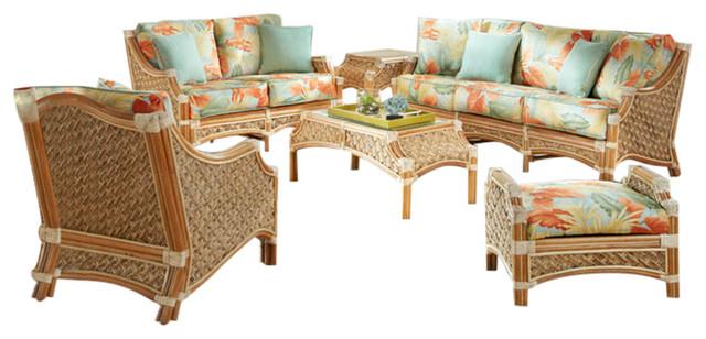 Mauna Loa 6-Piece Living Room Furniture Set In Natural, Esprit Robins Fabric.