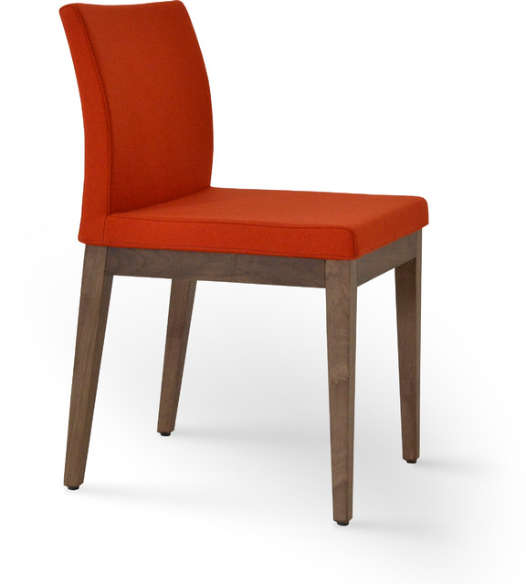 Aria wood orange camira wool contemporary dining for Modern dining chairs toronto