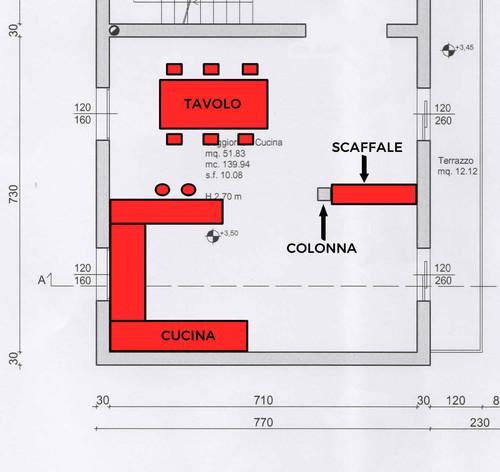 Cucina e zona pranzo molto grande aiuto for Planimetrie della sala da pranzo della cucina aperta