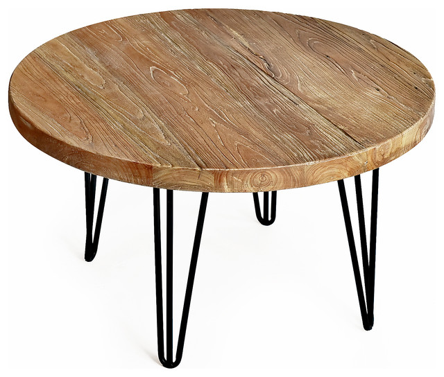 Rustic Round Old Elm Coffee Table, Round Reclaimed Wood Coffee Table