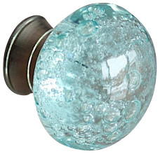 glass bubble drawer cabinet knob blue
