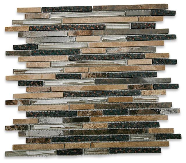 "11""x11.75"" Arcadia Karri Random Brick Glass and Stone Tile - Mosaic Tile - by Tile Bar"