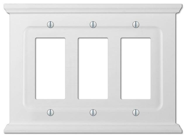 Mantel White Wood 3 Rocker Wall Plate Traditional Switch Plates