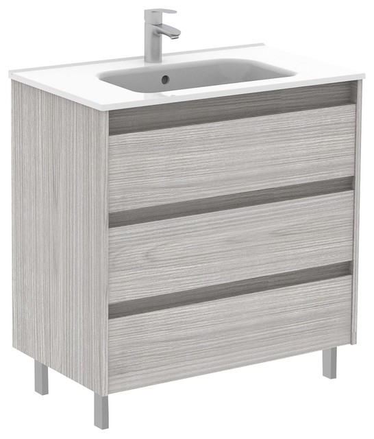 Standing Bathroom Vanity 3 Drawer Grey
