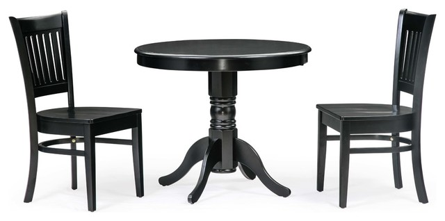"36"" Brookline Round Black Table & Chair Sets, Black."