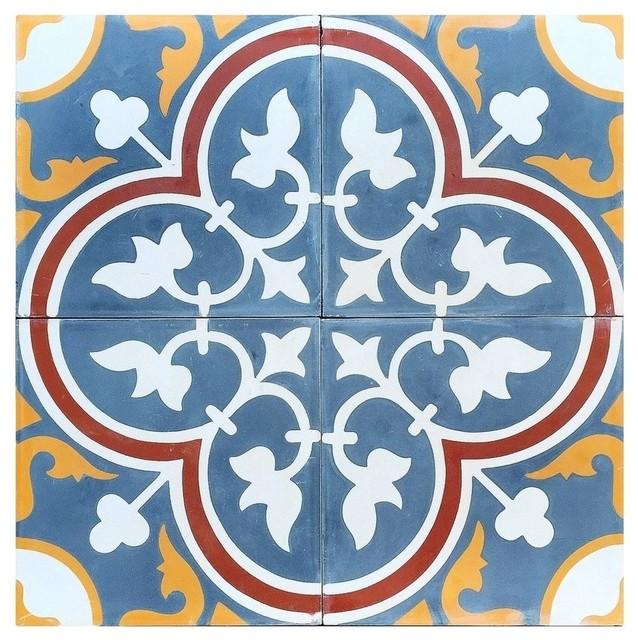 Roseton C Design Encaustic Cement Tile, Set Of 13, 8x8.