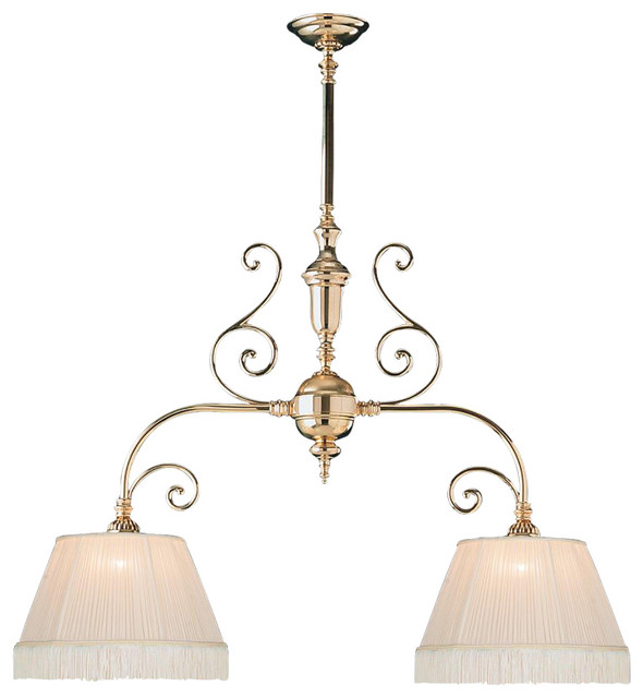 Manchester Two Light Polished Brass Island Light Traditional