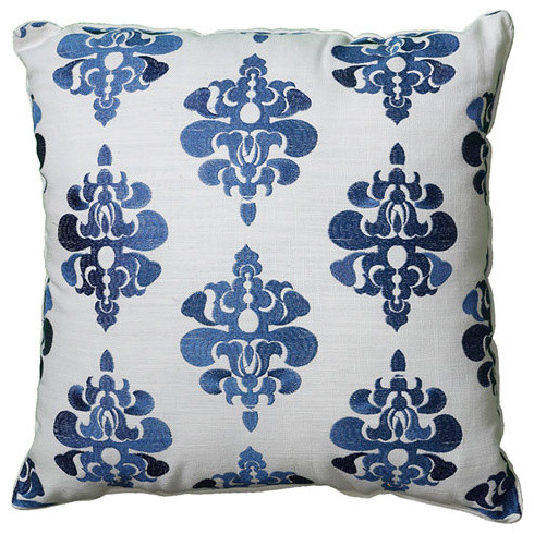 Indira Blue/White 18 Inch Pillow