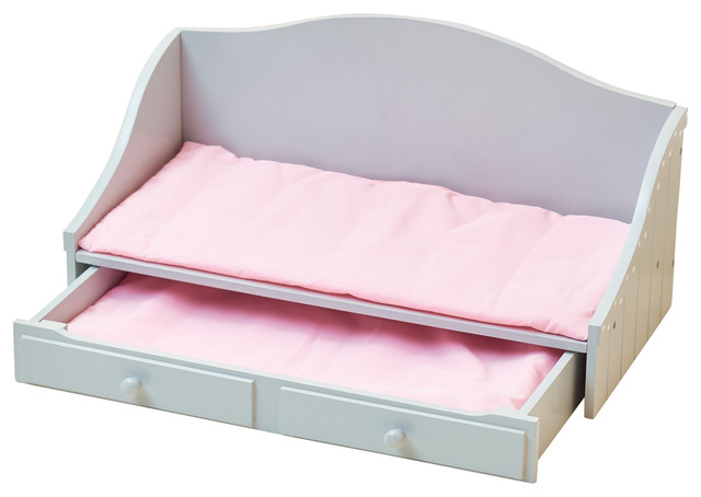 Little Princess Doll Furniture, Trundle Bed, Gray Polka Dots.