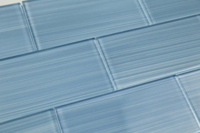 "Medium Haven Blue Hand-Painted Glass Subway Tile, 4""x12"" Tiles, Set of 30"