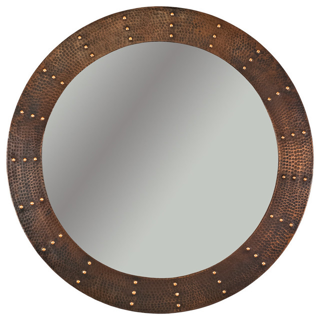 "34"" Round Copper Mirror, Forged Rivets Design."