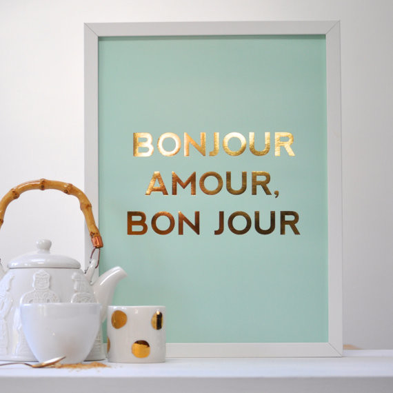 French Mint/Gold Print Poster, 'Bon Jour Amour' by Sarah & Bendrix