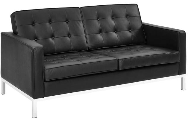 Modern Contemporary Urban Living Lounge Room Loveseat Sofa, Black, Leather