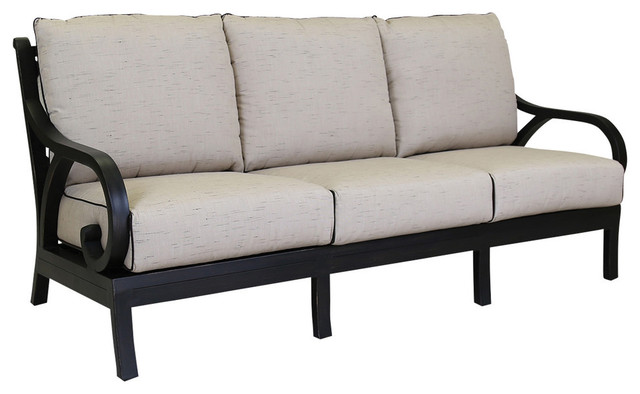 sunset west monterey sofa with cushions frequency sand with canvas walnut welt