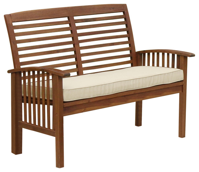 Shop Houzz Walker Edison Acacia Wood Patio Loveseat Bench Outdoor Benches