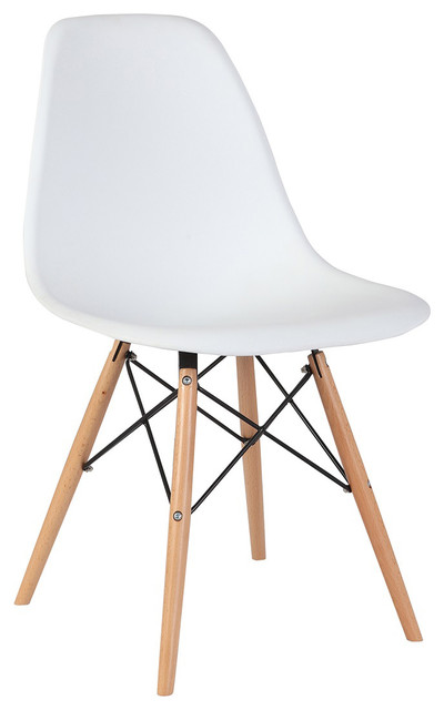 Pleasing 2 White Armless Plastic Molded Side Dining Chairs Modern With Natural Wood Legs Bralicious Painted Fabric Chair Ideas Braliciousco