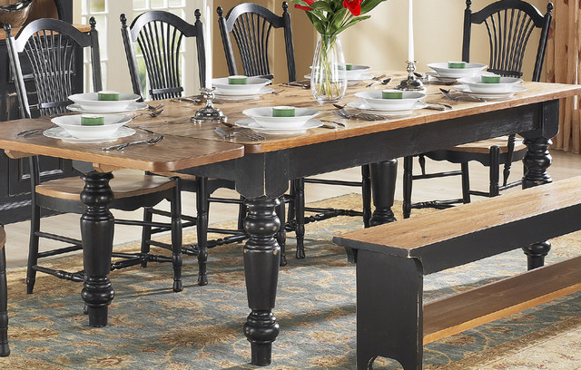French Country Farm Table With Wheatback Chairs