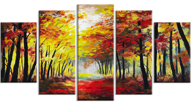 """walk Through Autumn Forest"" Landscape Canvas Artwork, 60""x32""."