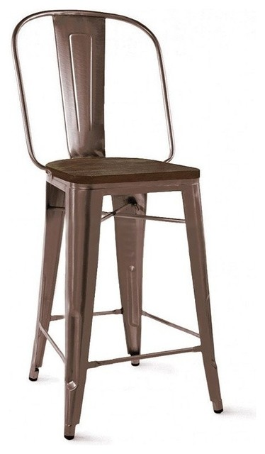 Dreux Rustic Matte Elm Wood Bar Chair 30 Inch Dark Set Of 4 Stools And Counter By Design Lab Mn