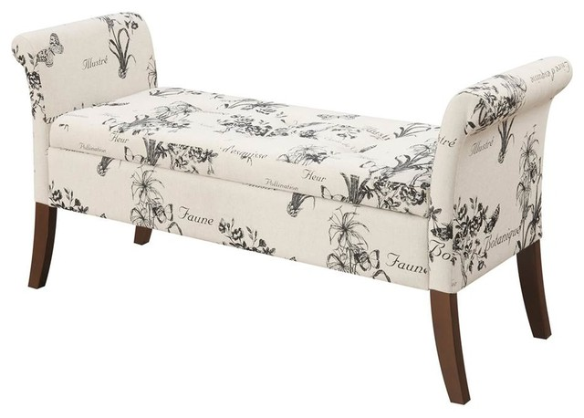 Tremendous Garbo Storage Bench In Beige Botanical Fabric Andrewgaddart Wooden Chair Designs For Living Room Andrewgaddartcom