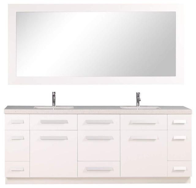 Design Element Moscony 84 Double Sink Vanity Set White
